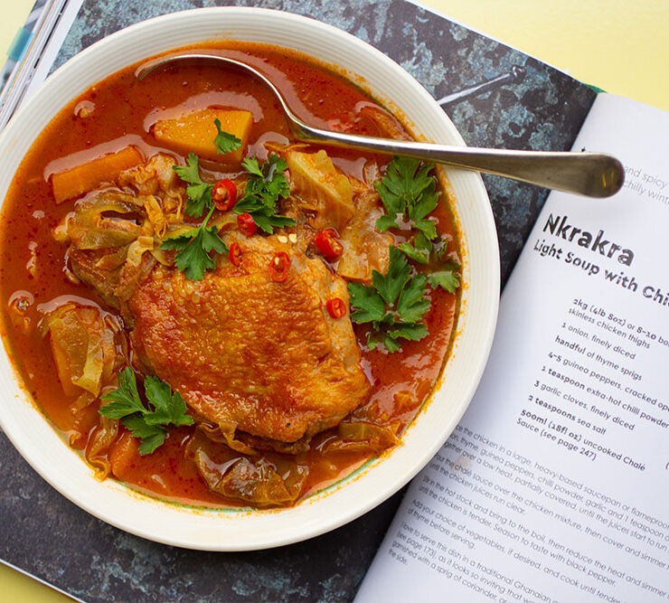Nkrakra, a light Ghanian Soup with Chicken from Zoe's Ghana Kitchen
