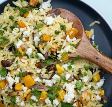 A Simply Seasonal Roasted Butternut & Red Onion Pasta with Feta, Herbs and Almonds