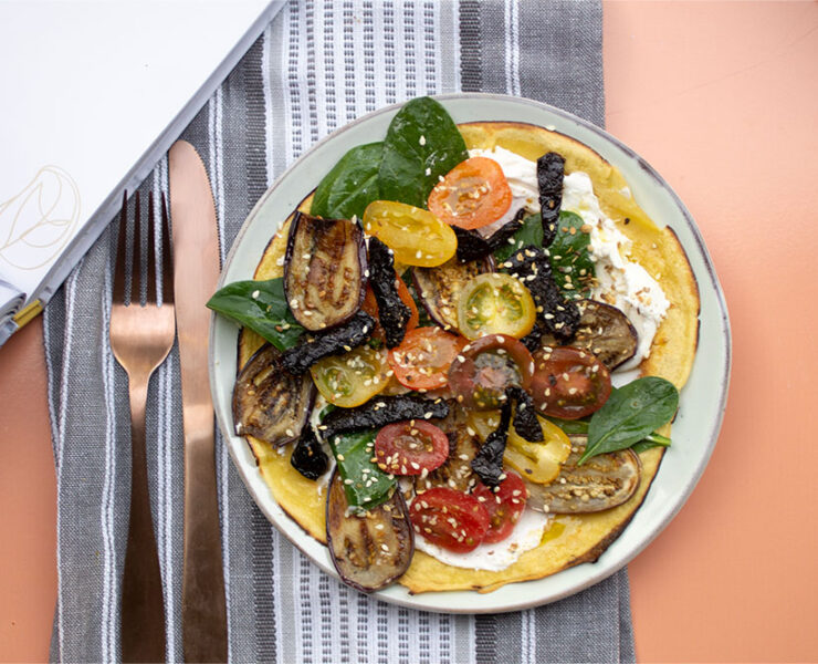 Chickpea Pancakes with Brinjals, Tomatoes & Labneh from Food That Loves You Back