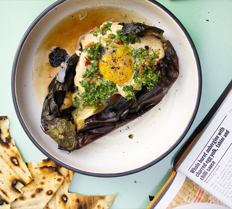 Whole Burnt Aubergine with Charred Egg Yolk, Tahini & Chili Sauce from Chasing Smoke, the cookbook